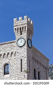 Clock Towers. Prince's Palace of Monaco is official residence of Prince of Monaco. Principality of Monaco is a sovereign city state, located on French Riviera in Western Europe.
