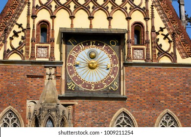 Clock at the town hall. Wroclaw. Poland