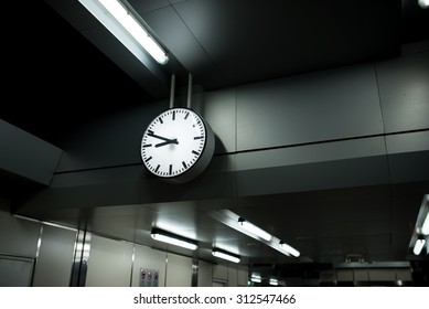 A clock at a train station