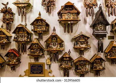 Clock. Vintage cuckoo clocks in shop, Bavaria, Munich, Germany