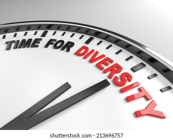 Clock with words time for diversity on its face