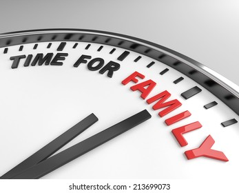 Clock with words time for family on its face