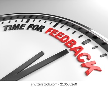Clock with words time for feedback on its face
