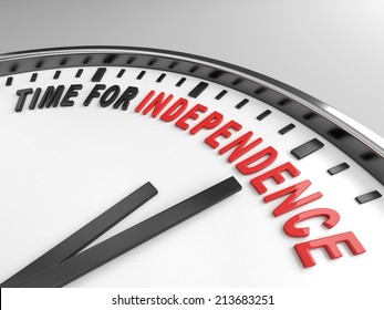Clock with words time for independence on its face