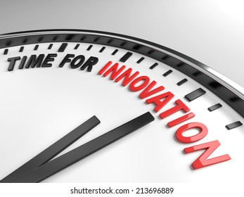 Clock with words time for innovation on its face