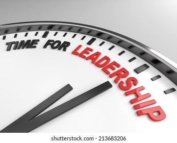 Clock with words time for leadership on its face