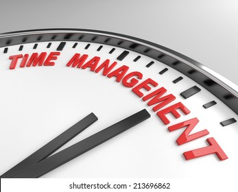 Clock with words time management on its face
