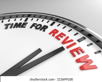 Clock with words time for review on its face