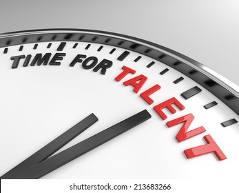 Clock with words time for talent on its face