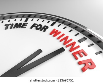 Clock with words time for winner on its face