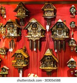 Clocks with cuckoo in shop, Bavaria, Munich, Germany