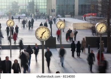 clocks in london's docklands