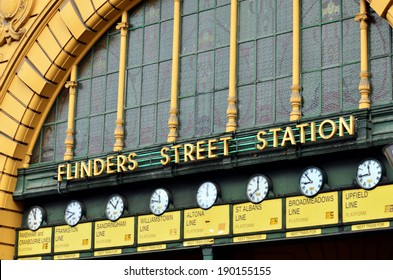 Clocks at the main entrance of Flinders Street Railway Station in Melbourne Victoria, Australia.