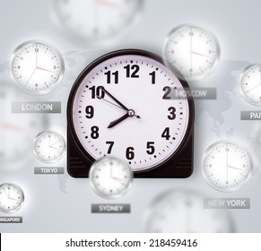 Clocks and time zones over the world illustration concept