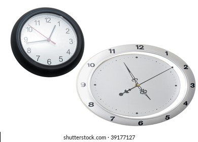 clocks under the white background