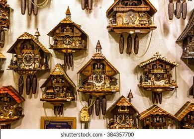 Clocks, vintage cuckoo clocks in shop, Bavaria, Munich, Germany