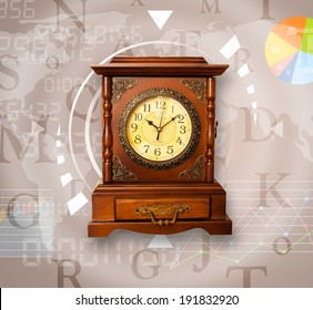 Clocks with world time and finance graph business concept