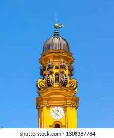 clocktower of famous Theatine Church in Munich