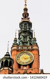 Clocktower of the Muzeum Historyczne Miasta Gdańska in Dluga, Dlugi Targ, Gdansk