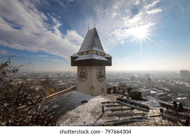 clocktower named grazer uhrturm on the schlossberg hill, graz,styria,austria