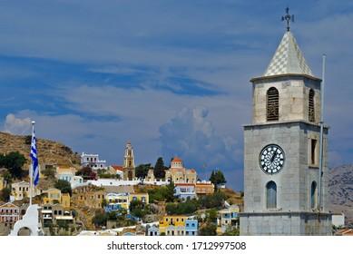 Clocktower on Symi island, Greece