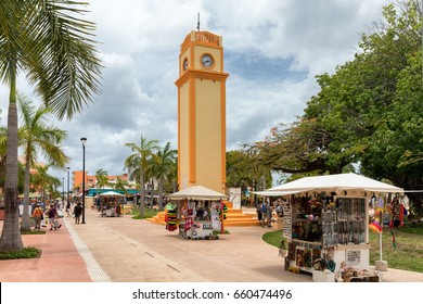 The clocktower of San Miguel on Cozumel Island, Mexico