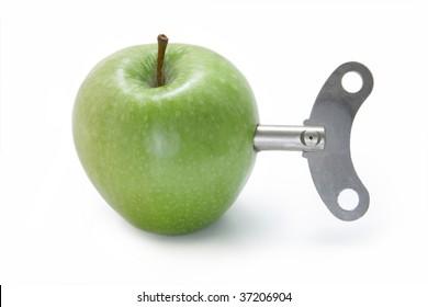 Clockwork apple on a white background.