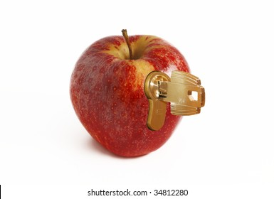 A clockwork apple - Red fresh apple with lock and key