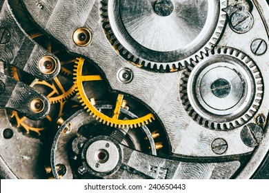 Clockwork Background. Close-Up Of Old Clock Watch Mechanism With Gears