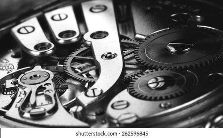 Clockwork in black and white.
