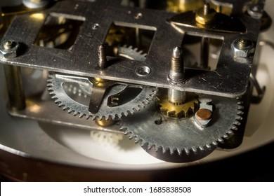 Clockwork close-up. Repair of watches.