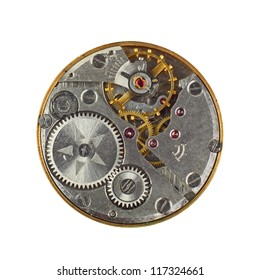 Clockwork details, pinions and wheels macro closeup isolated on white