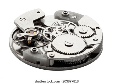 Clockwork with gears and cogwheels isolated on white background