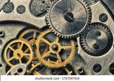 Clockwork gears wheels, close up view. Industry background.