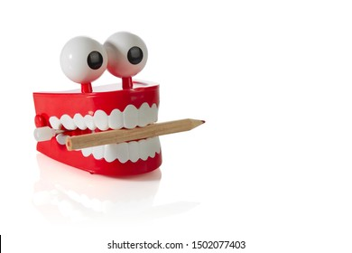 Clockwork jaw toy with sharpened pencil in teeth isolated on white background. Concept: gnawing knowledge.