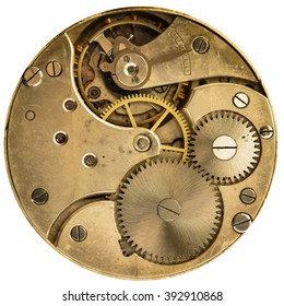 clockwork old mechanical pocket watch, high resolution and detail
