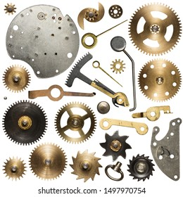 Clockwork spare parts. Metal gear, cogwheels and other details.