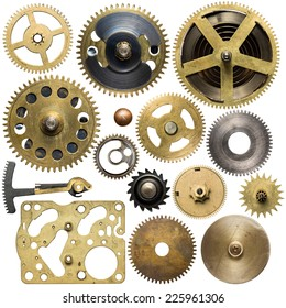 Clockwork spare parts. Metal gear, cogwheels.