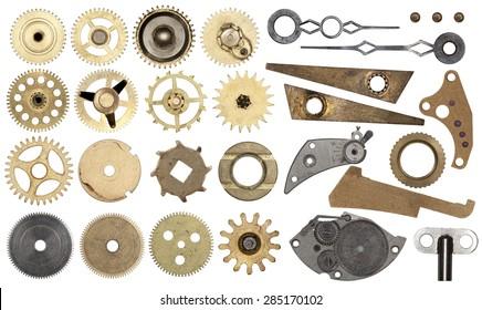 Clockwork spare parts. Set gear, cogwheels, isolated