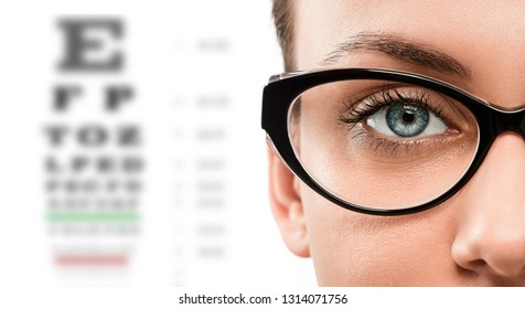 Cloese up of young woman wearing eyeglasses with eye test in the background