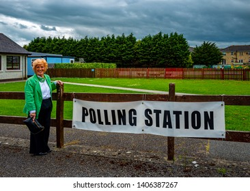 Clogherhead, Co. Louth, ROI. May 24, 2019. Lady at Polling Station who voted in Local & European Elections with Abortion Bill to be decided. 82 years an Irish Citizen & 21 years lived in the village.