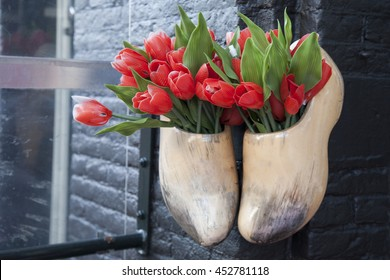 Clogs and Red Tulips, Amsterdam, Holland, Netherlands