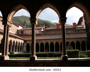 Cloister of the 12th century convent of Arles-sur-Tech in southern France near the Pyrenees