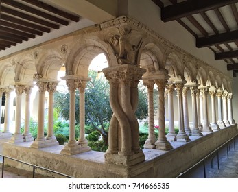 The cloister of Aix Cathedral (Cathédrale Saint-Sauveur d'Aix), which is a Roman Catholic church and the seat of the Archbishop of Aix, Aix-en-Provence town in southern France