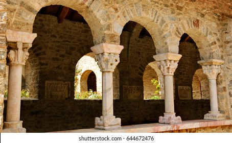 Cloister gallery of Saint Martin du Canigou abbey (which is on pilgrim route to Santiago de Compostela) in  Pyrenees-Orientales department, France.