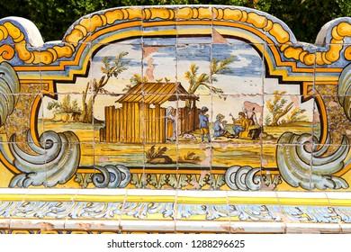 Cloister Garden of the Santa Chiara Monastery in Naples City, Italy