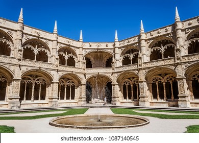 Cloister of the Jeronimos Monastery or Abbey in Lisbon, Portugal, aka Santa Maria de Belem monastery. Classified as UNESCO World Heritage it stands as a masterpiece of the Manueline art.