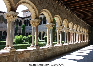 The cloister of the Monastery of Saint Mary in Ripoll, Catalonia, Spain