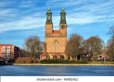 Cloisters Church (Klosters kyrka) in Eskilstuna at evening, Sweden