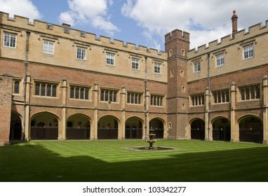 Cloisters at the famous public school, Eton College, Berkshire.  Founded by King Henry VI in 1440.  Historic building, hundreds of years old.